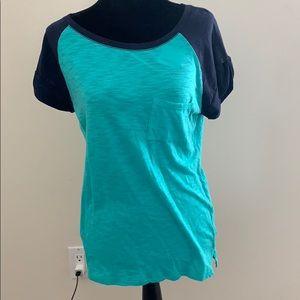Navy Blue and Emerald Green T Shirt